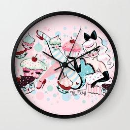 Vanilla Cupcake Pinup Doll  Wall Clock