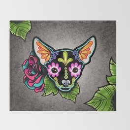 Chihuahua in Black - Day of the Dead Sugar Skull Dog Throw Blanket