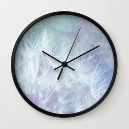 Whimsical Blue Dandelion Wall Clock