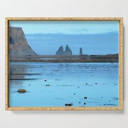 Watercolor Landscape Reynisdrangar 01, Vik, Iceland Serving Tray