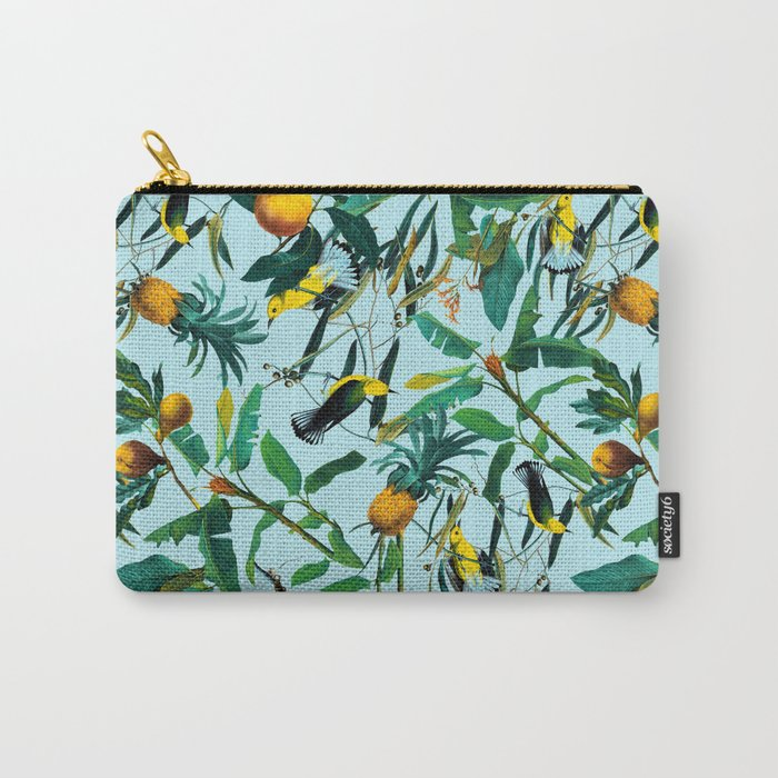 Fruit and Birds Pattern Carry-All Pouch