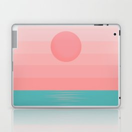 Minimalist Sunrise - Turquoise and Tropical Pink Laptop & iPad Skin