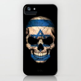 Dark Skull with Flag of Israel iPhone Case