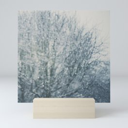 an abstract photograph of a tree & falling sn Mini Art Print