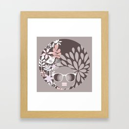 Afro Diva : Sophisticated Lady Pale Pink Peach Beige Framed Art Print