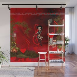 Little fairys with clef and notes Wall Mural