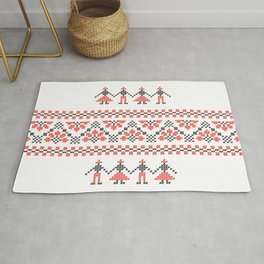 Traditional Romanian red & black cross-stitch people motif on white Rug