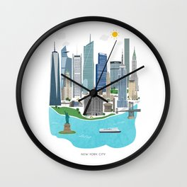 New York City Illustration Wall Clock
