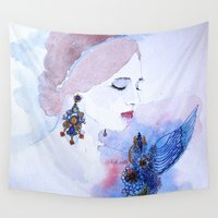 lady Wall Tapestries featuring Lady by S.Svetlankova