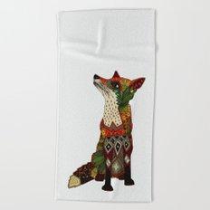 fox love off white Beach Towel