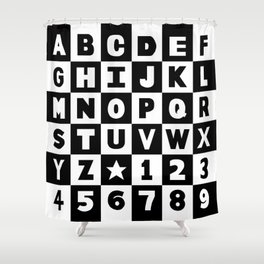 Alphabet Black and White Shower Curtain