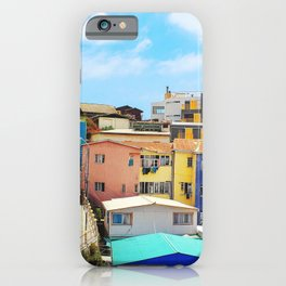 LANDSCAPE PHOTOGRAPHY OF BLUE AND YELLOW HOUSES iPhone Case