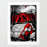 red hood Art Prints featuring Red hood by REN'SsillyFANTASY