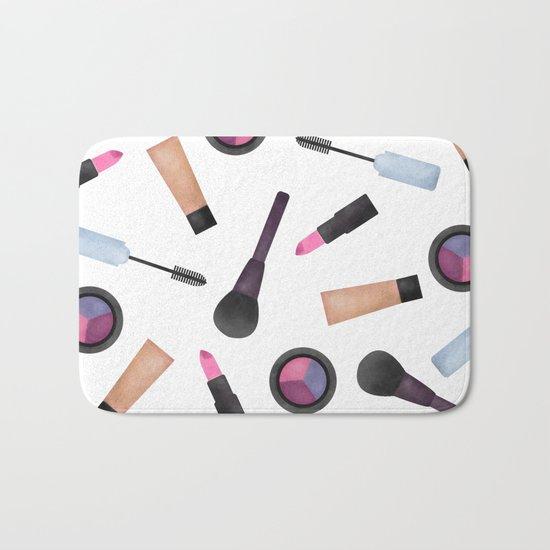 Scattered Makeup Pattern Bath Mat