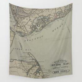 Vintage New York Bay & Atlantic Ocean Map (1880) Wall Tapestry