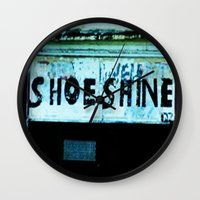 shoe Wall Clocks featuring Shoe Shine  by mcmerriweather