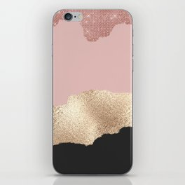 Rose Gold Glitter Black Pink Abstract Girly Art iPhone Skin