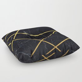 Black marble with gold lines Floor Pillow