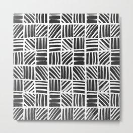 Weave Pattern - Black Metal Print