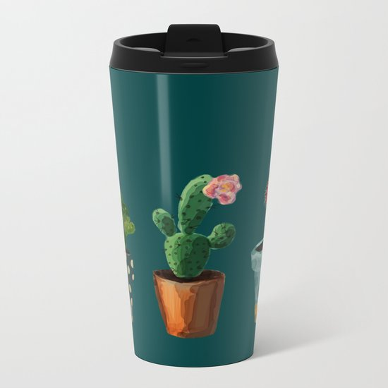 Three Cacti With Flowers On Green Background Metal Travel Mug