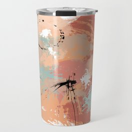 Unrestrained, Abstract Art Brushstrokes Travel Mug