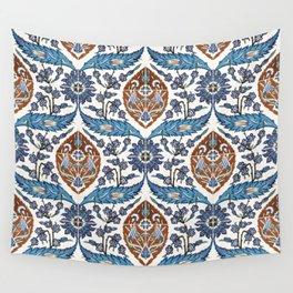 Iznik Tile Pattern Blue White Brown Wall Tapestry