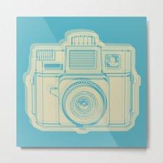 I Still Shoot Film Holga Logo - Turquoise/Tan Metal Print