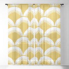 Japanese Fan Pattern Mustard Yellow Sheer Curtain