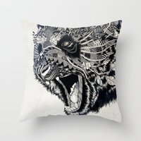 panda Throw Pillows featuring Panda by Feline Zegers