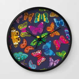 Butterflies Denim Wall Clock