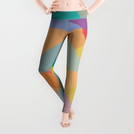 Geometric composition, warm colours stained glass window Leggings