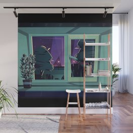 I'm Not Scared For I'm Safe Inside - Mid Century Style Spooky Illustration Halloween Wall Mural