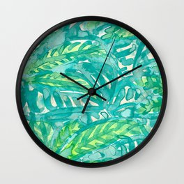 Turquoise & Lime Leaves Wall Clock