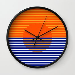 Orange Split Sun Wall Clock