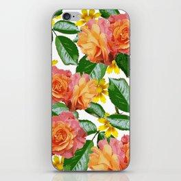 Orange Flower Print iPhone Skin