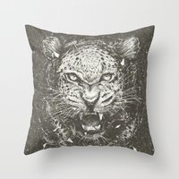 leopard Throw Pillows featuring LEOPARD by Stefania Grippaldi - IDEAS FLY studio