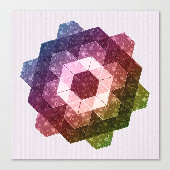 Patchwork Tiles IV (Rainbow flowers) Canvas Print