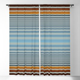Masculine Grey Blue Wood Grain Gradient Stripes Blackout Curtain
