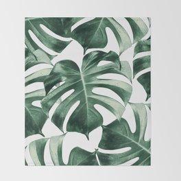 Tropical Monstera Leaves Dream #2 #tropical #decor #art #society6 Throw Blanket