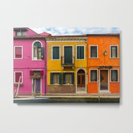 The Streets of Burano Metal Print