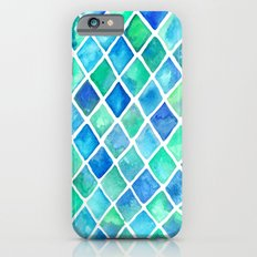 Hand Painted Cobalt Blue & Emerald Green Watercolor Pattern Slim Case iPhone 6