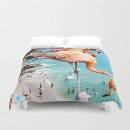 Flamingos on the Beach #society6 #decor #buyart Duvet Cover