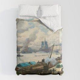 Notre Dame, River Seine, Paris Ile Saint-Louis with River Boats by Henri Alphonse Barnoin Duvet Cover