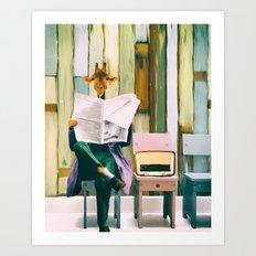 Giraffe reads the paper... Art Print