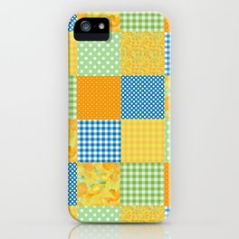 Golden Daffodils Faux Patchwork iPhone Case