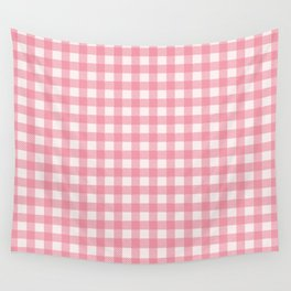 Pastel pink modern geometric check pattern Wall Tapestry