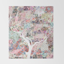 Washington map flowers Throw Blanket