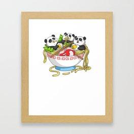 Ramen Kawaii Panda T-Shirt I Japanese Food Lover Framed Art Print