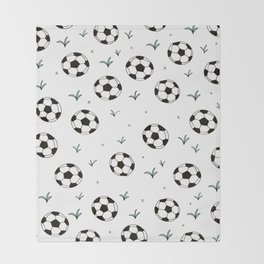 Fun grass and soccer ball sports illustration pattern Throw Blanket