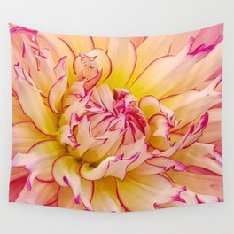 Pink Dahlia with Bright Pink tips Close Up Detail Wall Tapestry